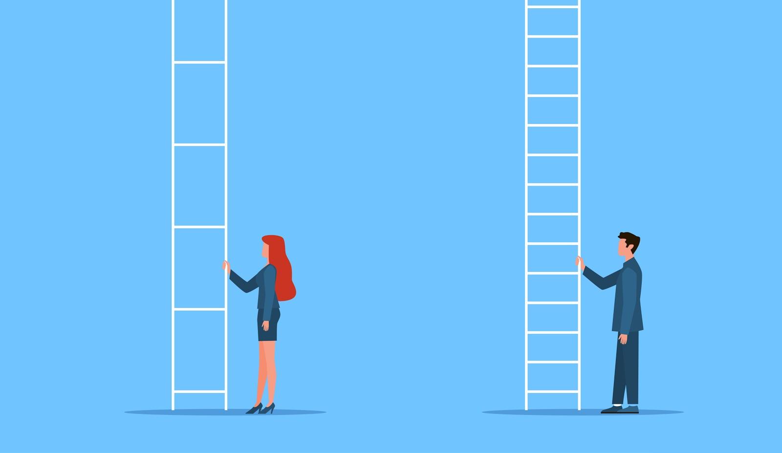 illustration depicting gender gap between man and wonan